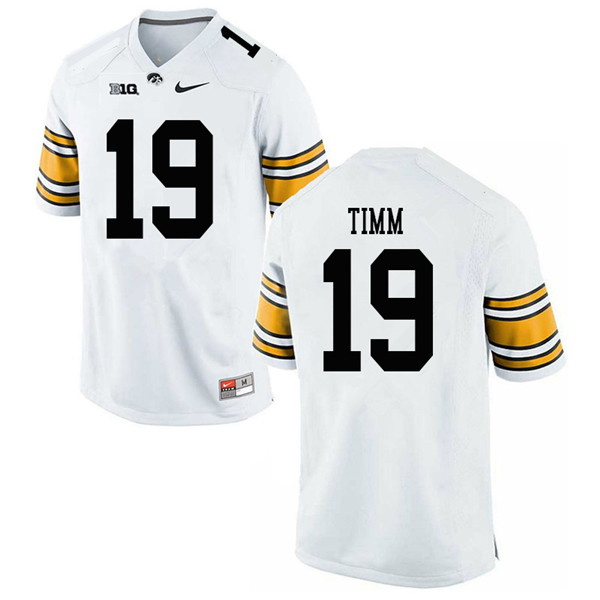 Men #19 Mike Timm Iowa Hawkeyes College Football Jerseys Sale-White
