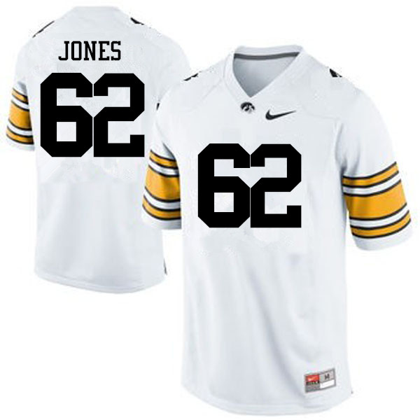 Men Iowa Hawkeyes #62 Cal Jones College Football Jerseys-White