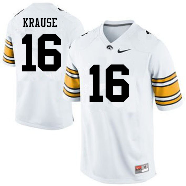 Men Iowa Hawkeyes #16 Paul Krause College Football Jerseys-White